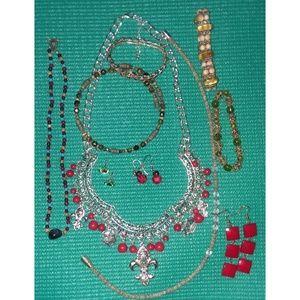 9pc Pink & Earth Tones Bracelets Necklaces Earring